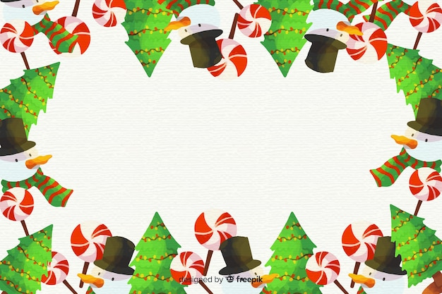 Colorful watercolor christmas background