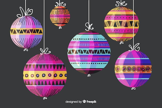Colorful watercolor christmas balls