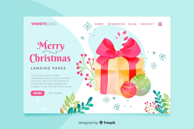 Colorful watercolor christmas landing page