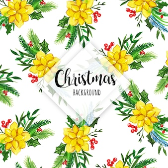 Colorful watercolor christmas pattern background