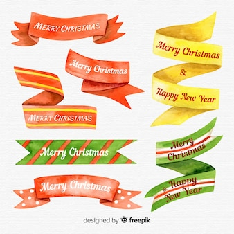 Colorful watercolor christmas ribbon collection