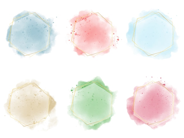 Colorful watercolor circle splash with golden frame collection