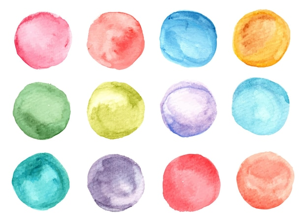 Colorful watercolor circle stain
