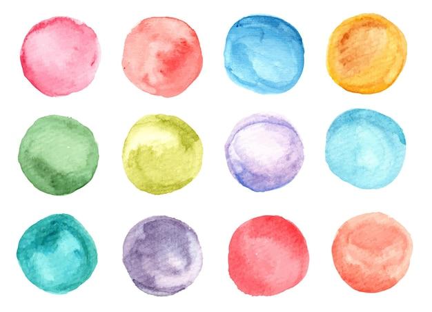 다채로운 수채화 원 얼룩