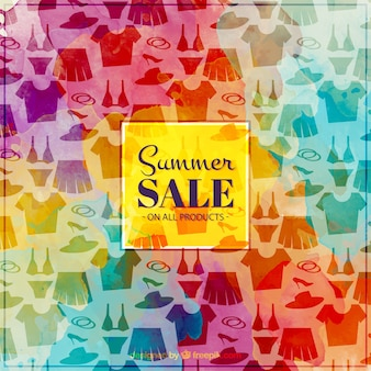 Colorful watercolor clothes sale background
