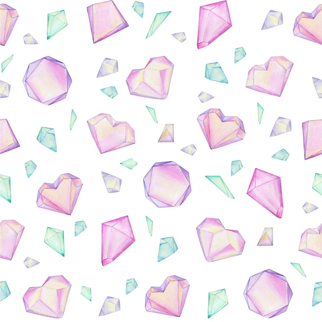 Colorful watercolor crystal gems are arranged in a chaotic order. seamless pattern