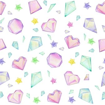 Colorful watercolor crystal gems. seamless pattern.