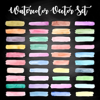 Colorful watercolor design set free vector