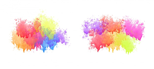 Colorful watercolor drips set