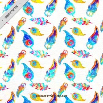 Colorful watercolor feather pattern
