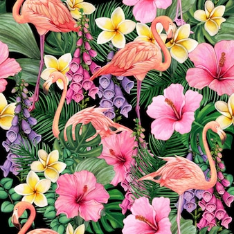Colorful watercolor flamingos and flower seamless pattern