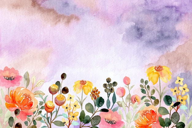 Colorful watercolor floral abstract background