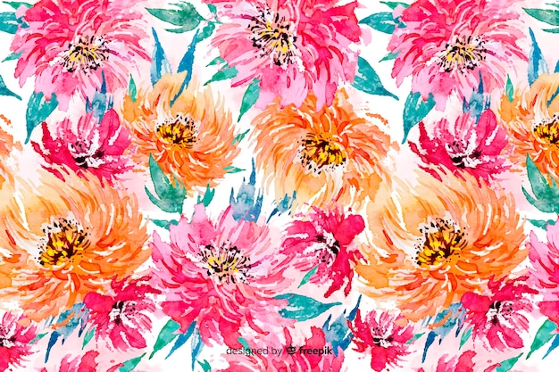 Colorful watercolor floral background