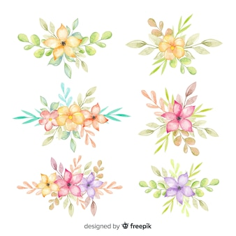 Colorful watercolor floral bouquet collection