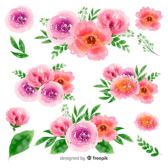 Colorful watercolor floral bouquet collection