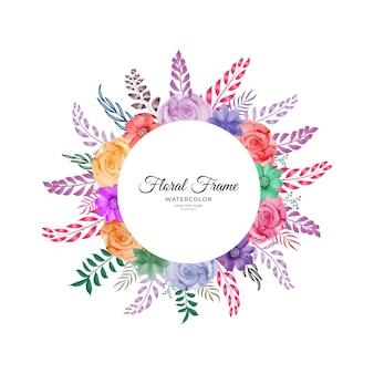 Красочный акварельный цветочный дизайн рамы в формате премиум вектор