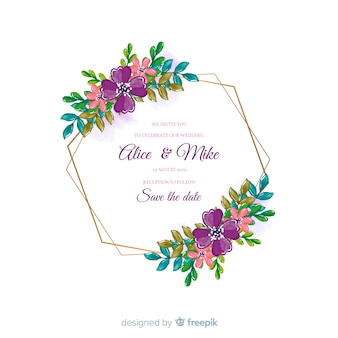 Colorful watercolor floral frame wedding invitation