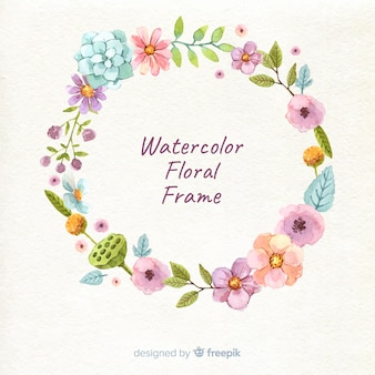 Colorful watercolor floral frame