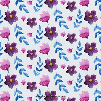 Colorful watercolor floral pattern Free Vector