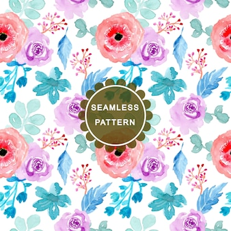 Colorful watercolor floral seamless pattern