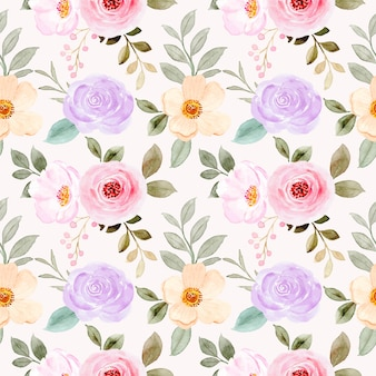 カラフルな水彩花のシームレスなパターン