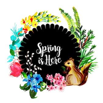 Colorful watercolor floral spring frame multipurpose