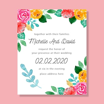Colorful watercolor floral wedding invitation card