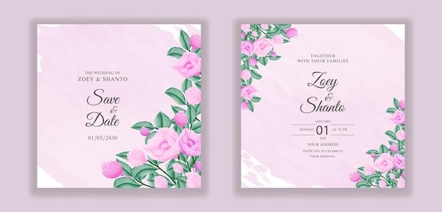 スプラッシュの背景を持つカラフルな水彩花の結婚式の招待カードテンプレート