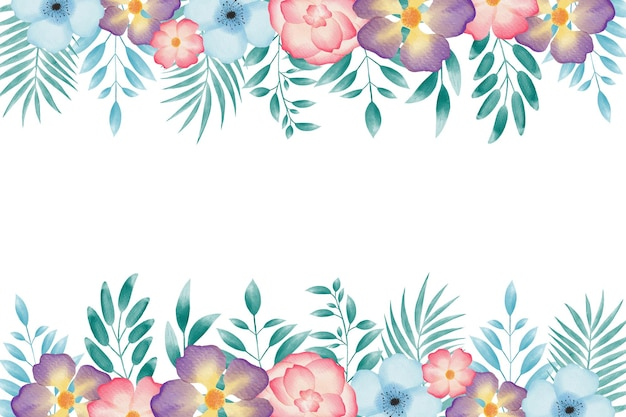 Colorful watercolor floral wreath frame background