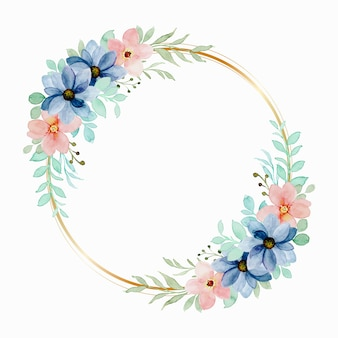 Colorful watercolor floral wreath with golden circle Free Vector