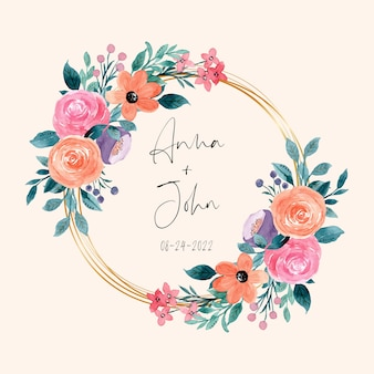 Colorful watercolor floral wreath with golden frame