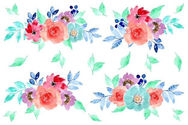 Colorful watercolor flower arrangement collection