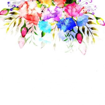 Красочные цветы акварели украшены фон.