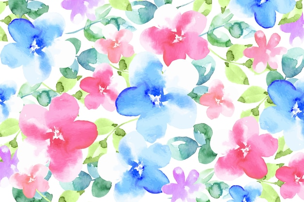 Colorful watercolor flowers wallpaper