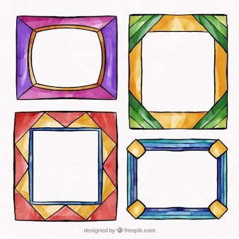 Colorful watercolor frame collection