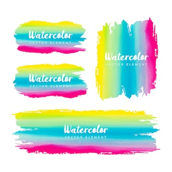 Colorful watercolor grunge brush frame collection