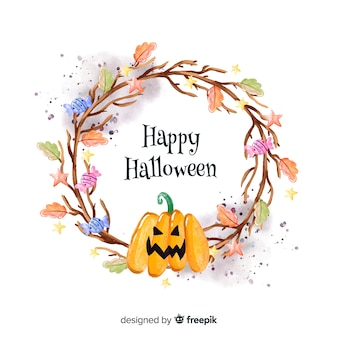 Colorful watercolor halloween background with pumpkin