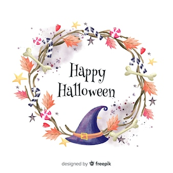 Colorful watercolor halloween background with witch hat Premium Vector