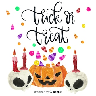Colorful watercolor halloween background