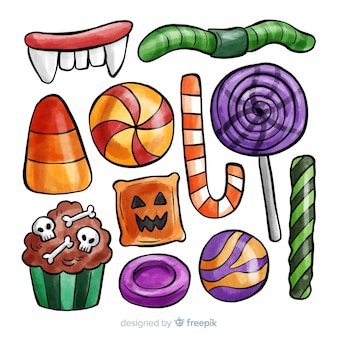 Colorful watercolor halloween candy collection