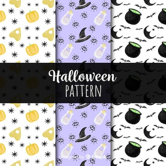 Colorful watercolor halloween pattern collection