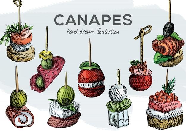 カラフルな水彩手描きのカナッペのセット。オリーブ、ぶどう、トマト、生ハムとソーセージ、サーモン、エビ、パン、チーズ、チーズクリーム、キャビア、つまようじきゅうり