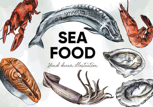 カラフルな水彩手描きの海の食べ物のスケッチセット。セットには、カニ、エビ、ロブスター、ザリガニ、オキアミ、ロブスターまたはイセエビ、ムール貝、カキ、ホタテが含まれます