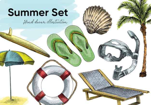 カラフルな水彩手描きの夏の休暇ツールのスケッチセット。セットには、ビーチラウンジャー、ビーチパラソル、ダイビングマスク、ヤシの木、救命浮環、サーフボード、カクテル、ビーチサンダル、ザルガイの殻が含まれています