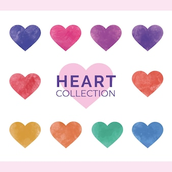 Colorful watercolor heart collection