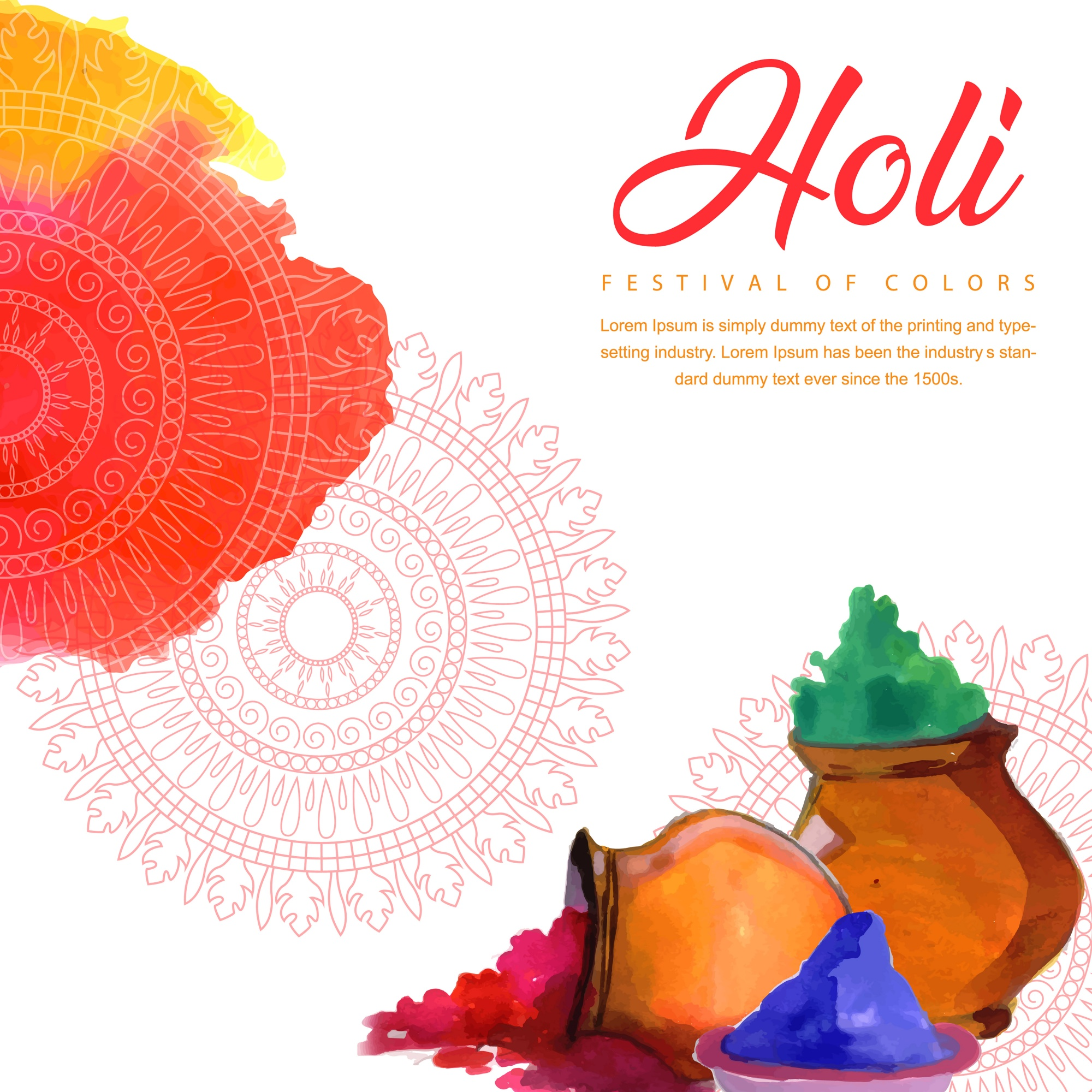 Colorful Watercolor Holi Fest Background