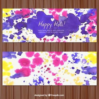 다채로운 수채화 holi 축제 배너