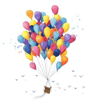 하늘을 나는 많은 작은 공기 풍선으로 만든 다채로운 수채색 열기구