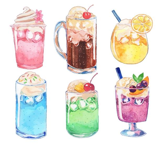 Красочный акварельный набор напитков мороженого