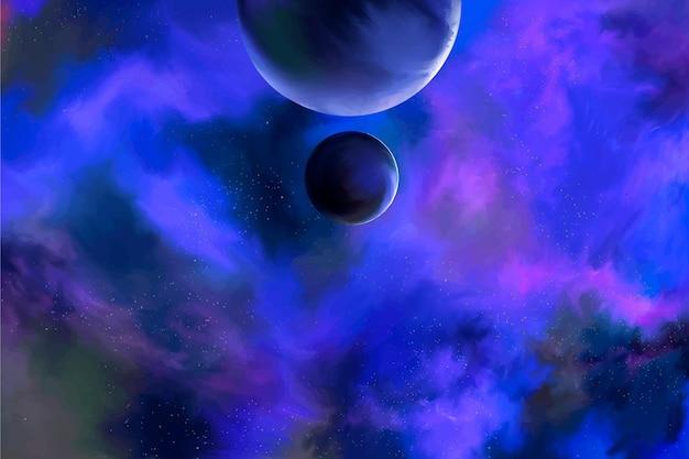 宇宙のカラフルな水彩イラスト